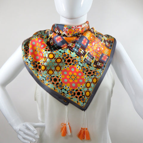 "Silk Twill Scarf with Tassels in Burnt Orange, Black and Green. Double-sided 36"" square head scarf, Birthday Gift, Festival Scarf -ScarvesByEllen"
