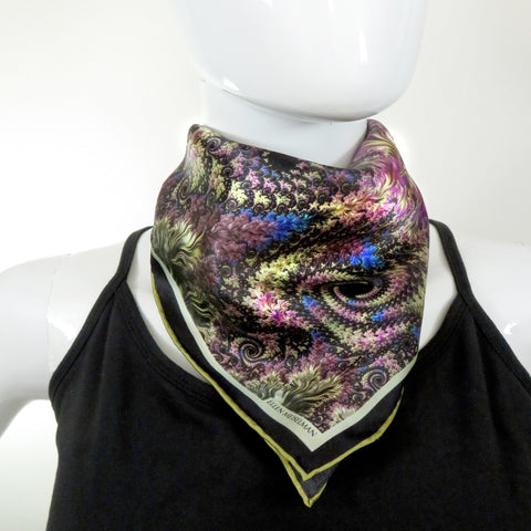 "Small Green Silk Scarf, ""Revel"", Fractal design, 16"" Square Neckerchief, gifts for her, hand-rolled hem, purse scarf -ScarvesByEllen"
