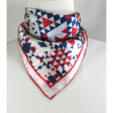 "Small Scarf, Geometric Fractal, red white blue, square scarf with hand-rolled hem, purse scarf, wrist scarf ""American Beauty"" -ScarvesByEllen"