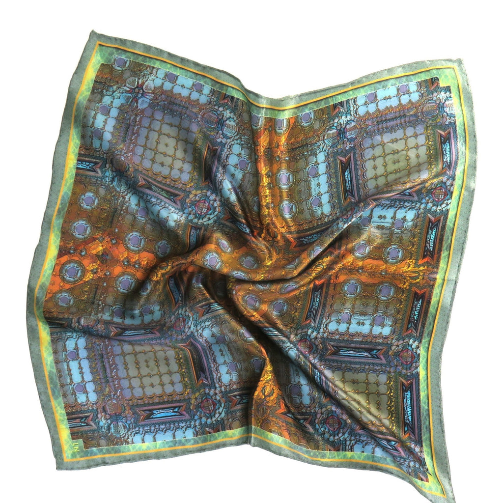 "Small Silk Scarf, ""Architectonic I"", 3D Fractal design, 17"" Square Neckerchief, gifts for her, small scarf, hand-rolled hem, purse scarf -ScarvesByEllen"