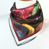 "Small Silk Scarf for women, ""The Sweet Potato's Tale II"", 16"" Square neckerchief, gifts for her, purse scarf, wrist scarf, 3D Fractal -ScarvesByEllen"