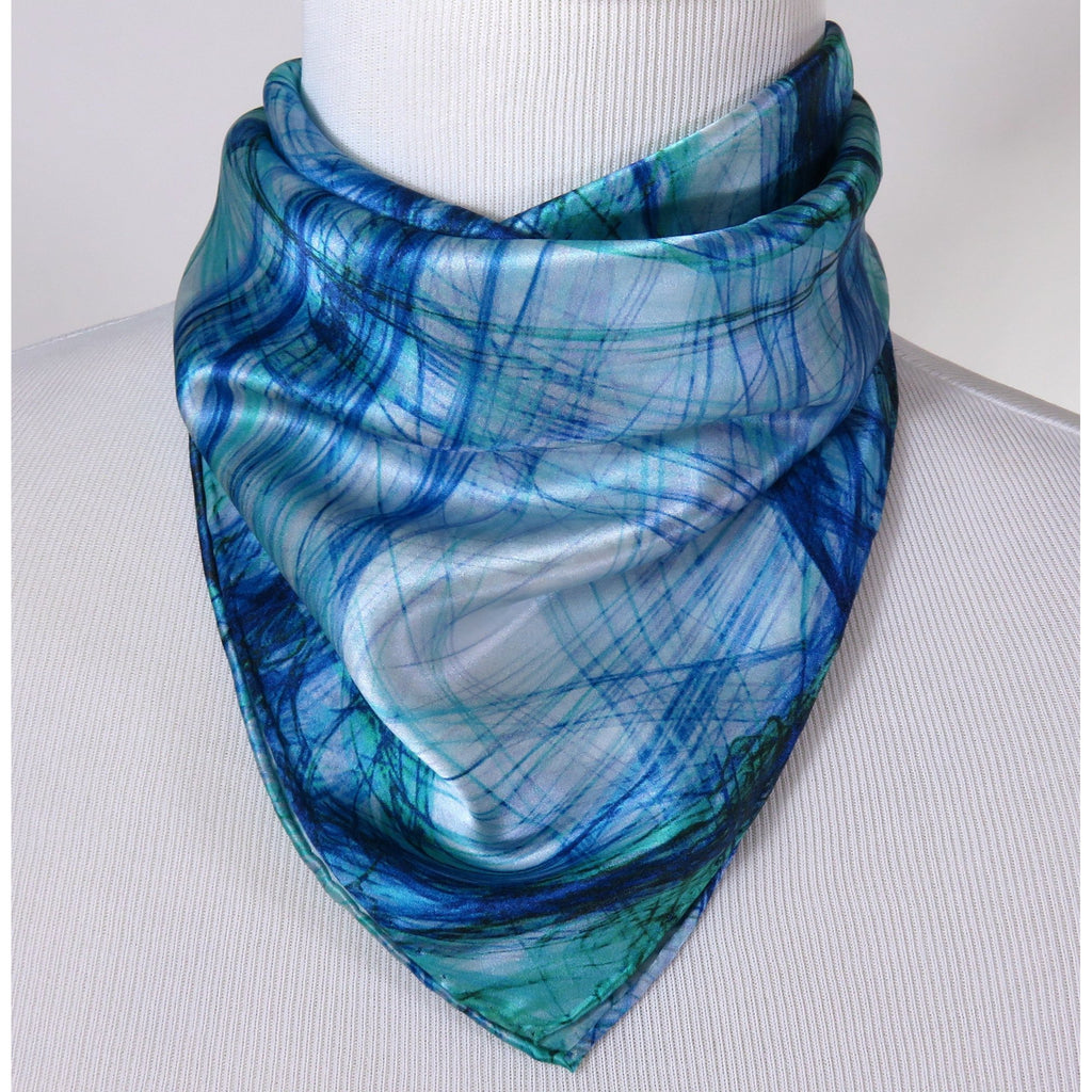 "Small Silk Scarf, ""Knots Bright Blue"" Square Silk Kerchief, gifts for her, purse scarf, wrist scarf birthday present -ScarvesByEllen"