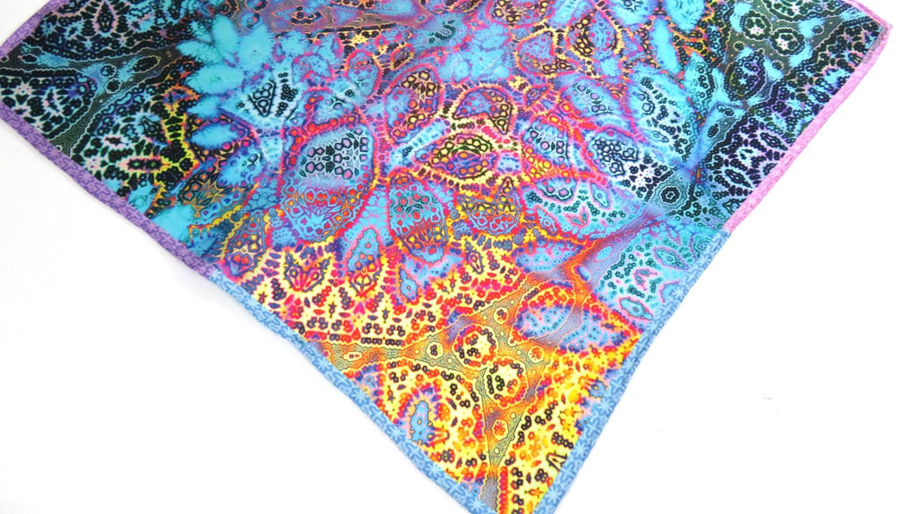 "Small Silk Scarf, ""Magic Flute"",Fractal Paisley, 17"" Square Neckerchief, gifts for her, hand-rolled hem, purse scarf -ScarvesByEllen"
