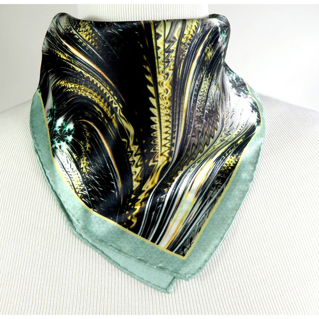 "Small Square Scarf, ""Forest Canopy"" 17"" Silk Neckerchief, Fractal design, wrist scarf, gifts for her, purse scarf, pocket square -ScarvesByEllen"