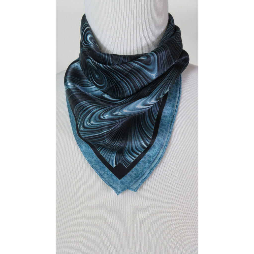 "Small Square Scarf, ""Waveforms"" 17"" Silk Neckerchief, blue gray silk scarf, gifts for her, purse scarf, wrist scarf -ScarvesByEllen"