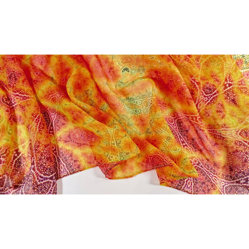 "Spring Scarf, Orange Fractal Paisley Scarf, Retirement gift ""Magic Flute"" Design, Summer Scarf, Sun colors, Spring colors, Mother's Day -ScarvesByEllen"
