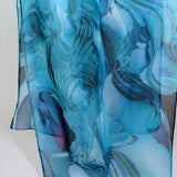 Summer Scarf, Blue Silk Scarf, Scarves for women, lightweight shawl, sheer ocean blue scarf, gift box, retirement gift, gift for teacher