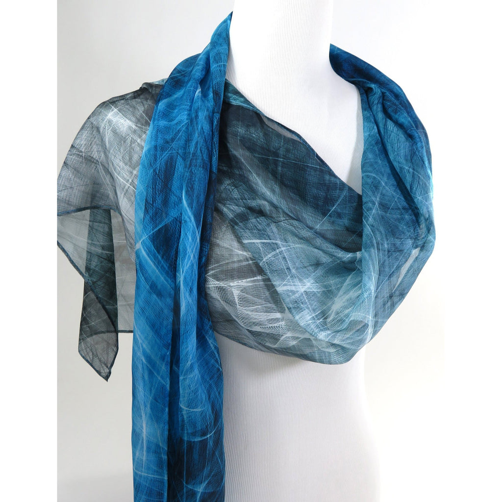 Summer Scarf for Woman, ombre blue-black sheer silk scarf, unique gift woman, Festival clothing, energy, silk chiffon shawl -ScarvesByEllen