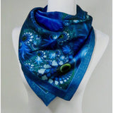 "Trippy Scarf, 36"" Square Blue Silk Scarf, Psychedelic Fractal design, man scarf, easy gift ideas, ""The Watcher"" Festival scarf -ScarvesByEllen"