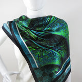 "Unique Scarf, ""Spiral Clockwork"" in Blue-Green Silk, Unique Christmas gift for woman, Wife gift, Mother Gift, psychedelic fractal scarf -ScarvesByEllen"