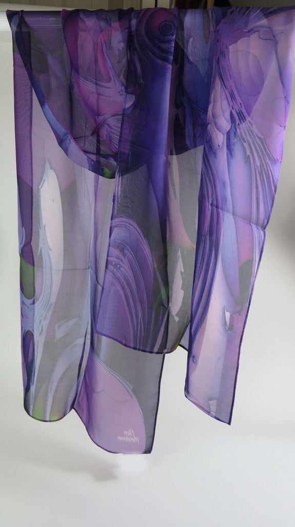 Violet Purple long chiffon scarf for women, Scarf womens, gift for her, sheer summer scarves -ScarvesByEllen