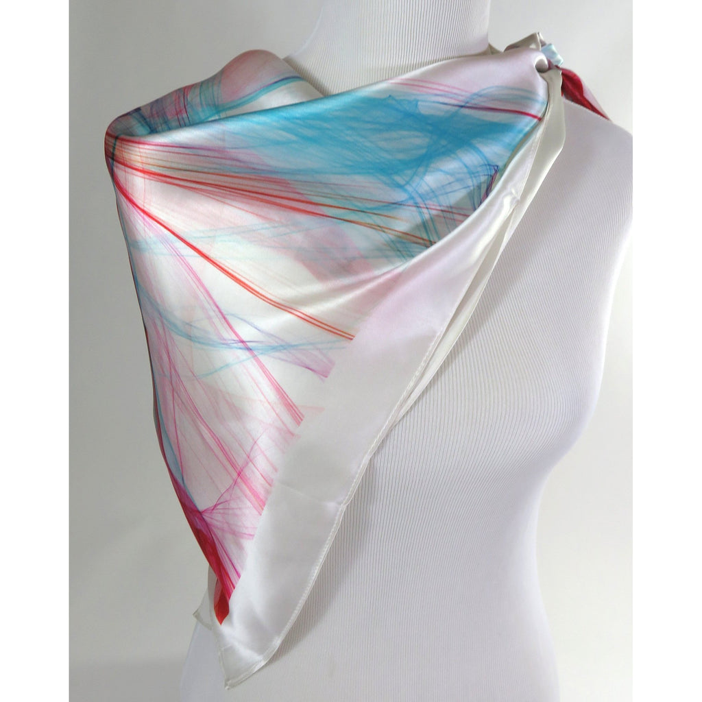 "White Silk Scarf, Spring Colors, 36"" square silk head scarf, graduation gift, birthday gift, gift for woman, girlfriend, retirement -ScarvesByEllen"