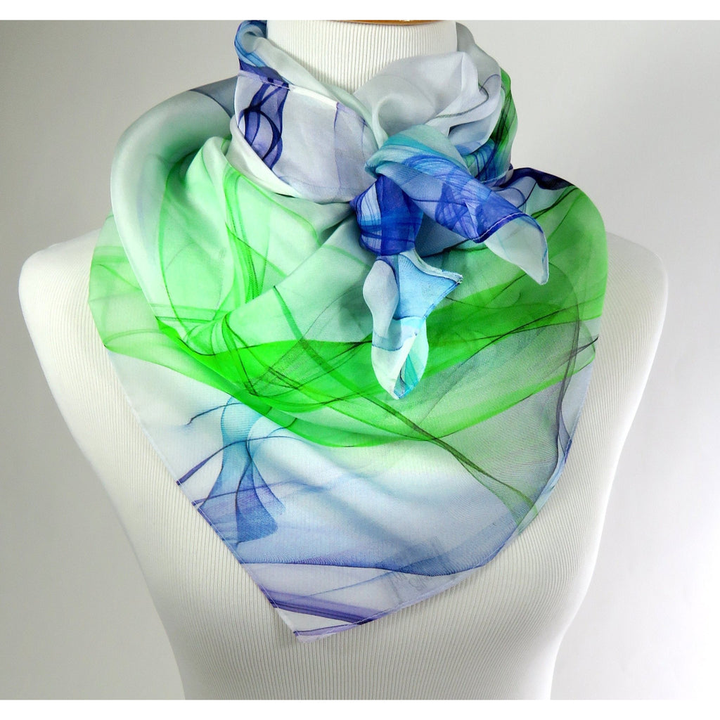 "White Silk Scarf with Blue and Green ""Ink in Water"" design. 36"" Silk Chiffon gift for woman, head scarf, appreciation gift, birthday gift -ScarvesByEllen"