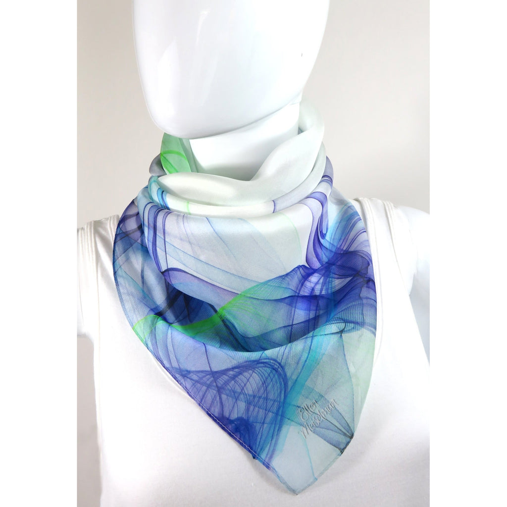 "White Square Scarf with Blue and Green ""Ink in Water"" design. 36"" Silk Chiffon gift for woman, sheer head scarf -ScarvesByEllen"