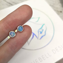 Blue-Purple Silver Opal Studs