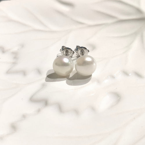 8mm Button Pearl Studs