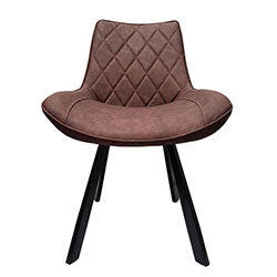 dining room chair brown pu padded seat