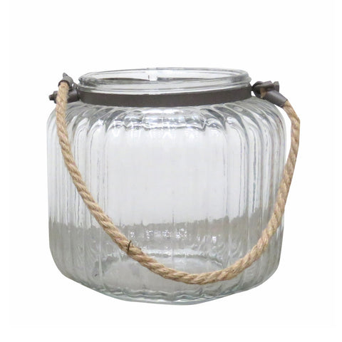 Hanging Glass Hurricane Candle Holder w Rope - The Furniture Store & The Bed Shop