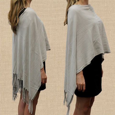 Cotton Fringed Poncho - The Furniture Store & The Bed Shop