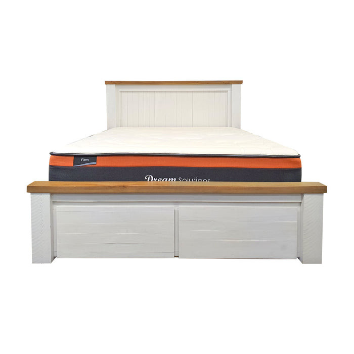 Harlow Bed Frame - Panel Headboard with Drawer Foot