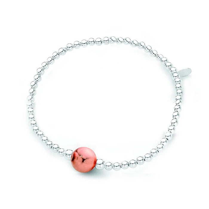 Sterling Silver & Rose Gold Ball Bracelet