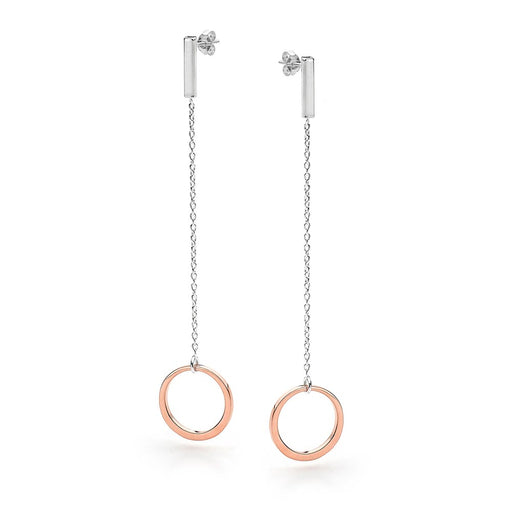Silver & Rose Gold Circle Drop Stud Earrings