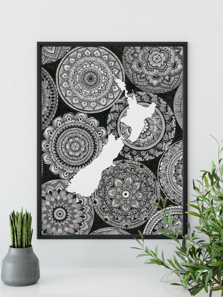 New Zealand Map - Mandala Out