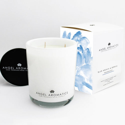 470g Large Glass Candle - Blue Agava Berries-candles-Angel Aromatics