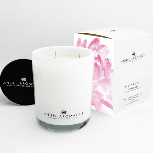 470g Large Glass Candle - Blush Rose-candles-Angel Aromatics