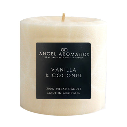 Pillar Candles - Vanilla and Coconut-Candles-Angel Aromatics