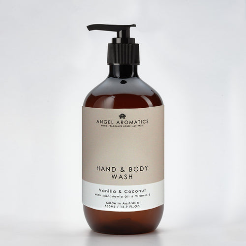 Vanilla and Coconut Hand and Body Wash 500ml-Hand and Body Wash-Angel Aromatics