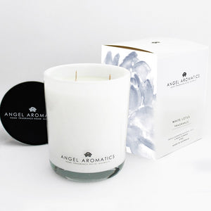470g Large Glass Candle - White Lotus-candles-Angel Aromatics