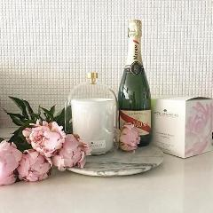 470g Large Glass Candle - Champagne Peony-candles-Angel Aromatics
