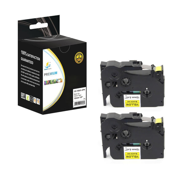 Catch Supplies 2 Pack Replacement TZe631 Black on Yellow Laminated Label Tape