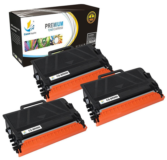 Catch Supplies Replacement Brother TN880 High Yield Black Toner Cartridge Laser Printer Toner Cartridges - Three Pack