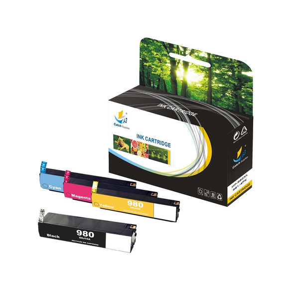 Catch Supplies Replacement HP 980XL, 981XL High Yield Ink Cartridge - 4 Pack