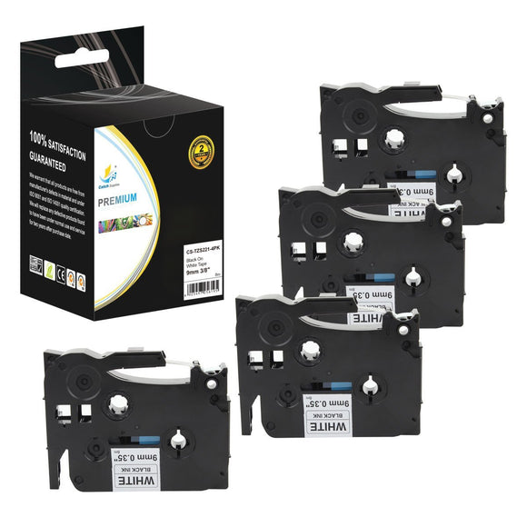 Catch Supplies 4 Pack RCatch Supplies 4 Pack Replacement TZeS221 Black on White Extra Strength Laminated Label Tapeeplacement TZeS221 Black on White Extra Strength Laminated Label Tape