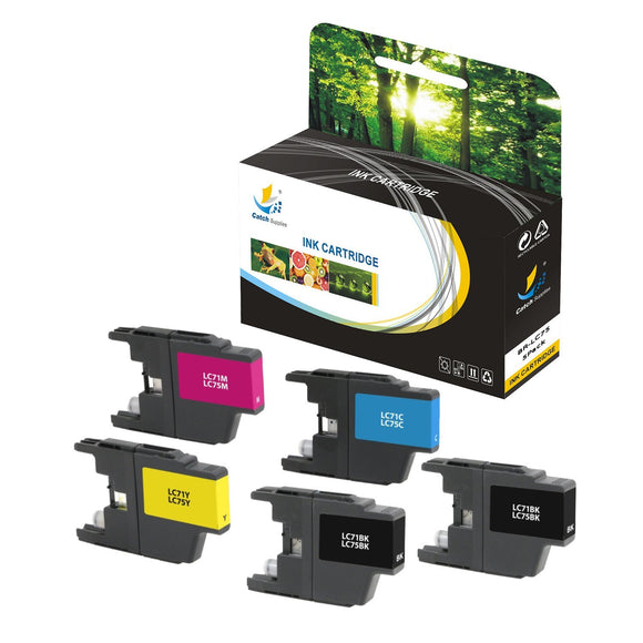 Catch Supplies Replacement Brother LC75BK, LC75C, LC75M, LC75Y High Yield Ink Cartridge Ink Cartridge - Five Pack