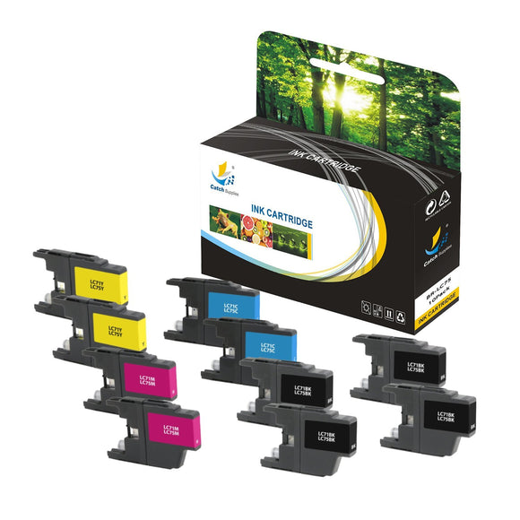 Catch Supplies Replacement Brother LC75BK, LC75C, LC75M, LC75Y High Yield Ink Cartridge Ink Cartridge - Ten Pack