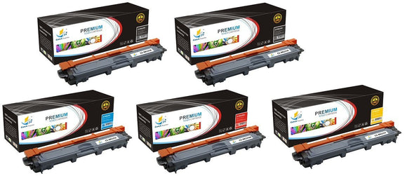 Catch Supplies Replacement Brother TN-221BK, TN-225C, TN-225M, TN-225Y Standard Yield Laser Printer Toner Cartridges - Five Pack