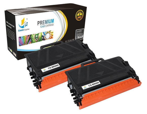 Catch Supplies Replacement Brother TN880 High Yield Black Toner Cartridge Laser Printer Toner Cartridges - Two Pack