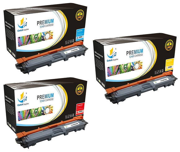 Catch Supplies Replacement Brother TN-225C, TN-225M, TN-225Y Standard Yield Laser Printer Toner Cartridges - Three Pack