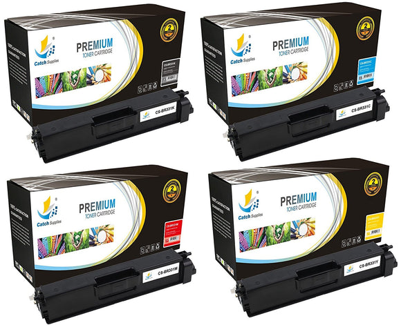 Catch Supplies Replacement Brother TN-331BK, TN-331C, TN-331M, TN-331Y Standard Yield Laser Printer Toner Cartridges - Four Pack