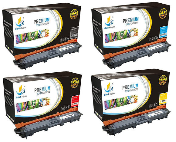 Catch Supplies Replacement Brother TN-221BK, TN-225C, TN-225M, TN-225Y Standard Yield Laser Printer Toner Cartridges - Four Pack