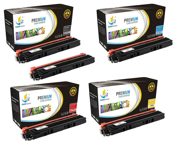 Catch Supplies Replacement Brother TN-210BK, TN-210C, TN-210M, TN-210Y Standard Yield Laser Printer Toner Cartridges - Five Pack