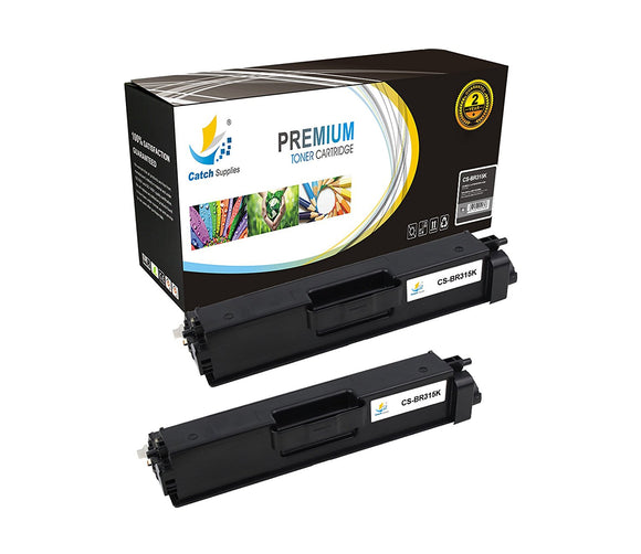 Catch Supplies Replacement Brother TN-315BK Standard Yield Laser Printer Toner Cartridges - Two Pack
