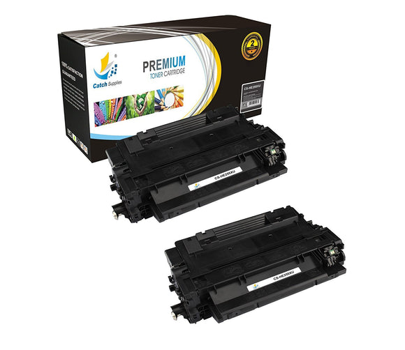 Catch Supplies Replacement HP CE255X Jumbo Yield Black Toner Cartridge Laser Printer Toner Cartridges - Two Pack