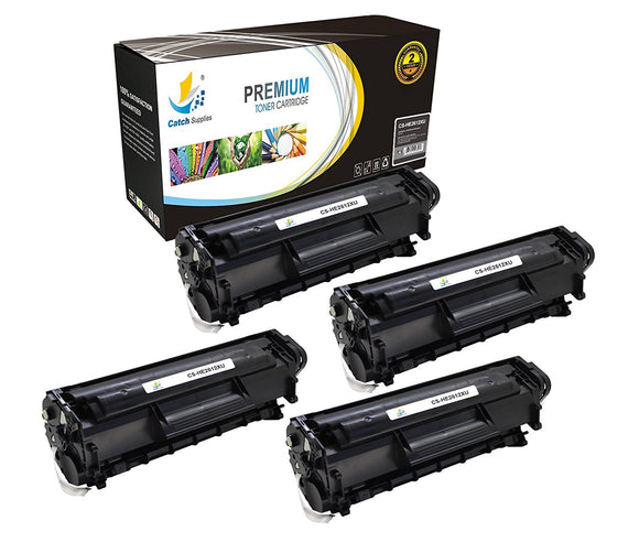 Catch Supplies Replacement HP Q2612X High Yield Black Toner Cartridge Laser Printer Toner Cartridges - Four Pack