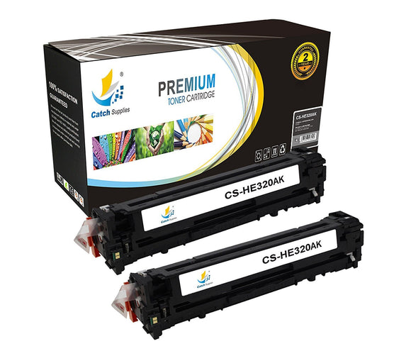 Catch Supplies Replacement HP CE320A Standard Yield Laser Printer Toner Cartridges - Two Pack