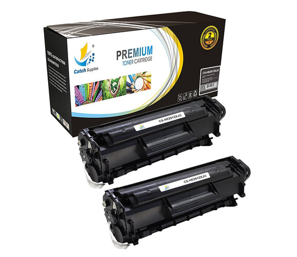 Catch Supplies JUMBO Yield Replacement Q2612X Black Toner Cartridge 2 Pack